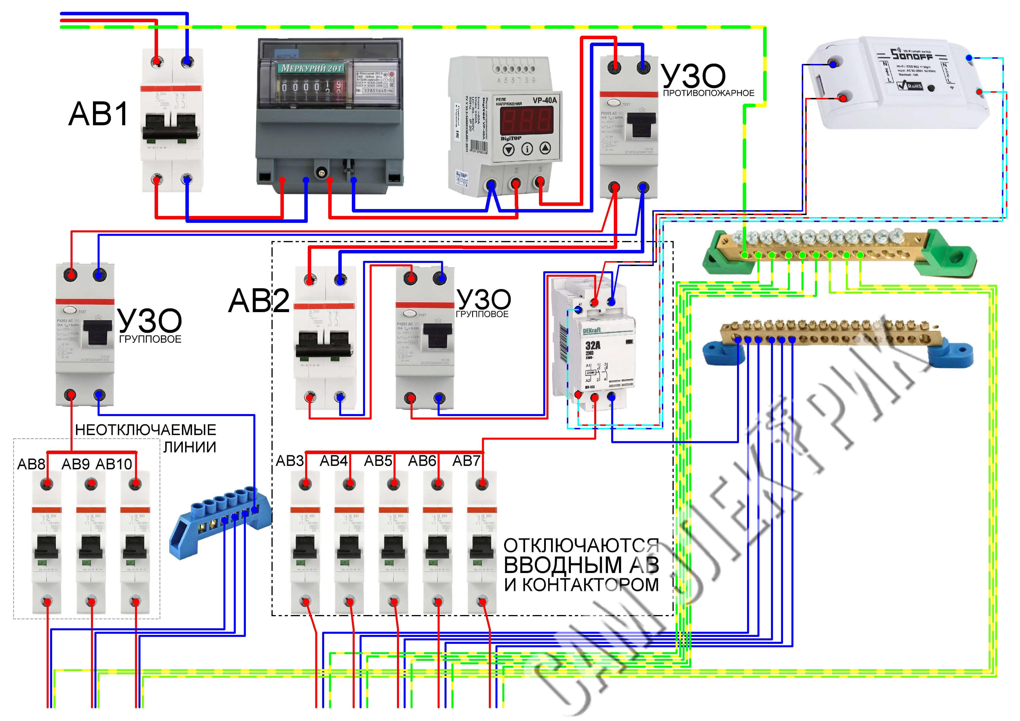 Схема электрощита с Wi-Fi реле