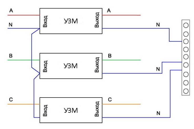 Схема подключения УЗМ в трехфазной сети