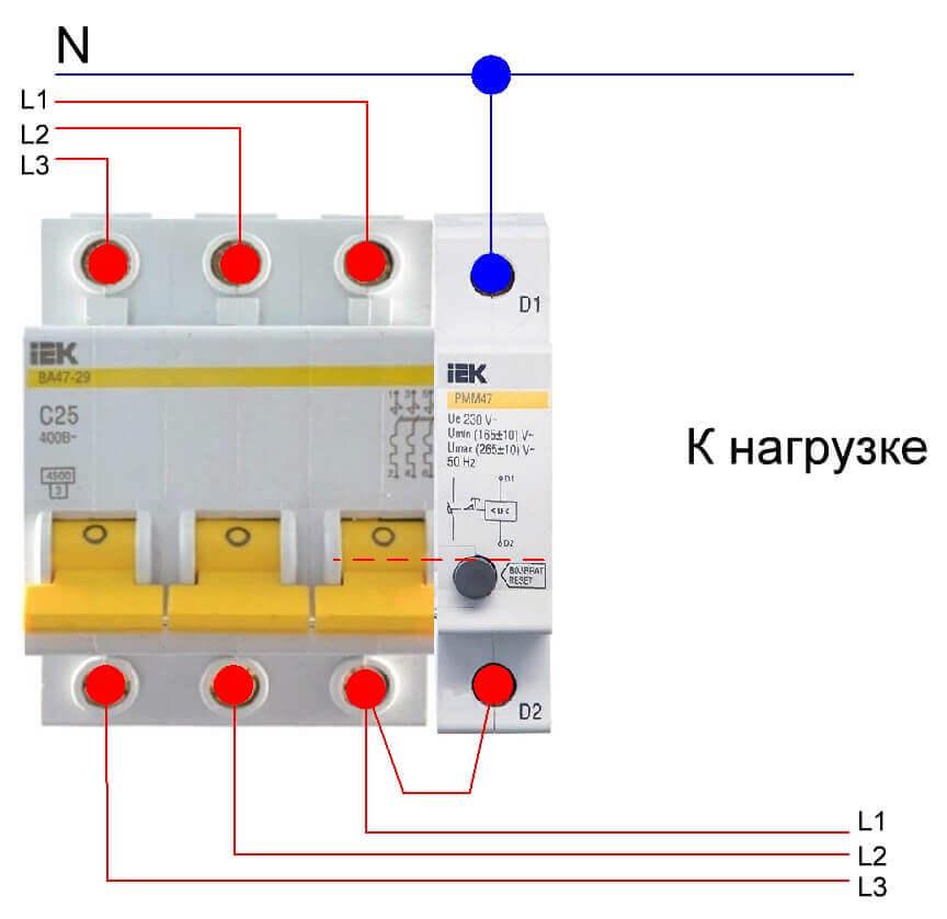 Подключение расцепителя к сети 380В