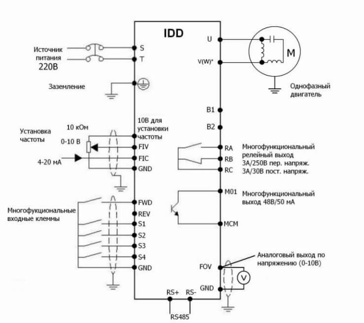 Схема подключения 1-фазного преобразователя частоты к конденсаторному двигателю