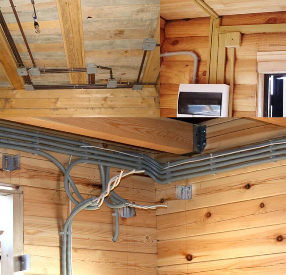 Варианты проводки в деревянном доме