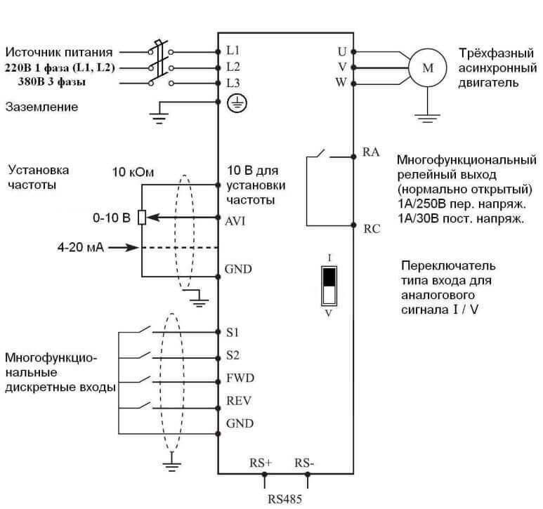 Схема подключения 3-фазного частотного преобразователя к 3ф двигателю