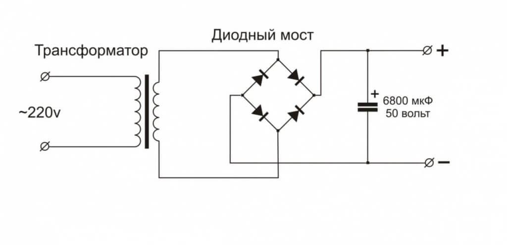 Схема подключения в трансформаторном БП