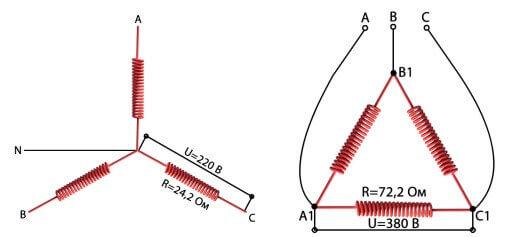 Схема подключения звездой и треугольником
