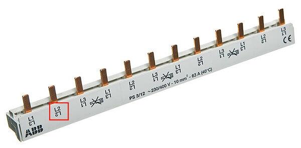 Обозначение полюса на трёхполюсной рейке
