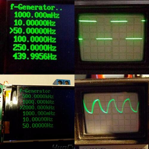 Проверка сигналов генератор на минимальных и максимальной частоте