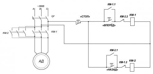 Реверсивная схема управления асинхронным двигателем