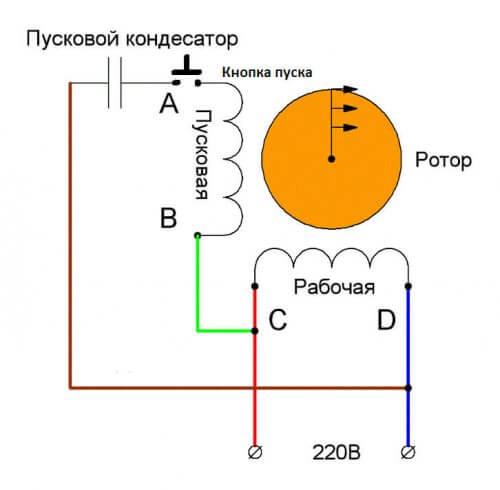 Схема включения однофазного двигателя с пусковым конденсатором