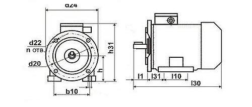 Установочные размеры фланцевых электродвигателей
