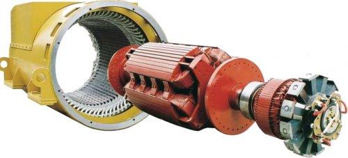 Внешнив вид ротора синхронного электродвигателя с безщеточным возбуждением обмоткой возбуждения (не постоянными магнитами!)