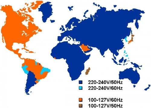 Напряжение и частота в разных странах