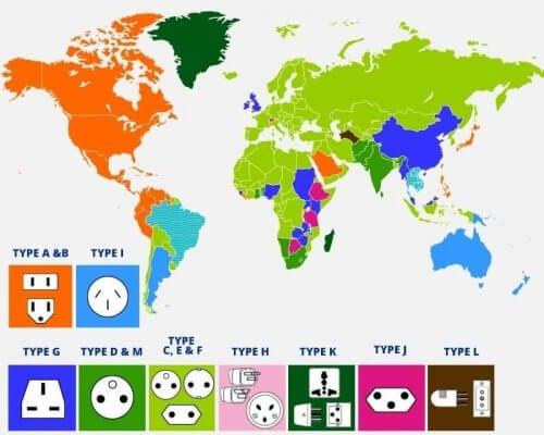 Виды розеток в разных странах