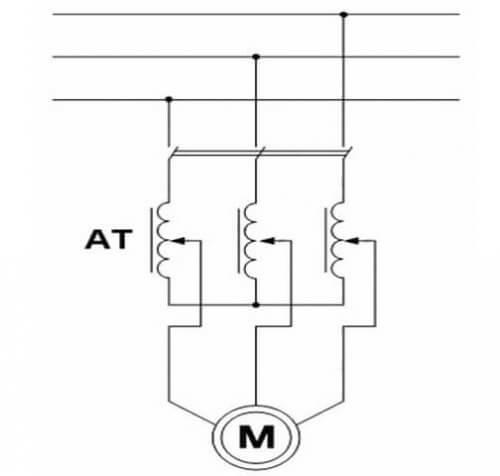 Схема подключения 3-х фазного АД через реостат или ЛАТР