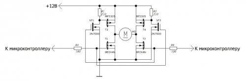 Схема реверсивного включения на полевых транзисторах