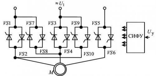 Схема реверса асинхронного двигателя на тиристорах без пускателей