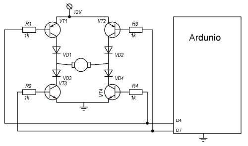 Схема реверсивного управления электродвигателем на ардуино