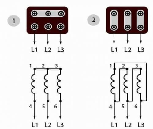Схемы соединения обмоток в клеммной коробке и обозначение их концов