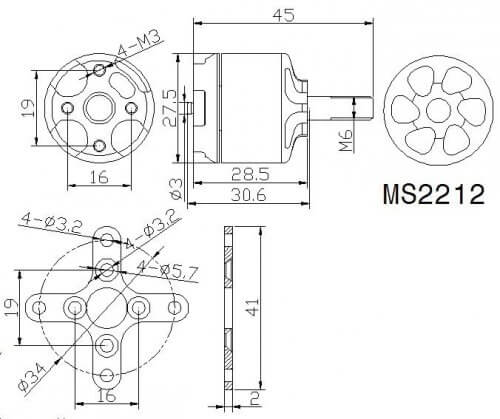 Размеры бесколлекторных моторов с внешним ротором по наружной части не соответствуют маркировке — в ней указаны размеры статора