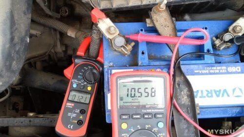 Измерение тока автомобильного аккумулятора