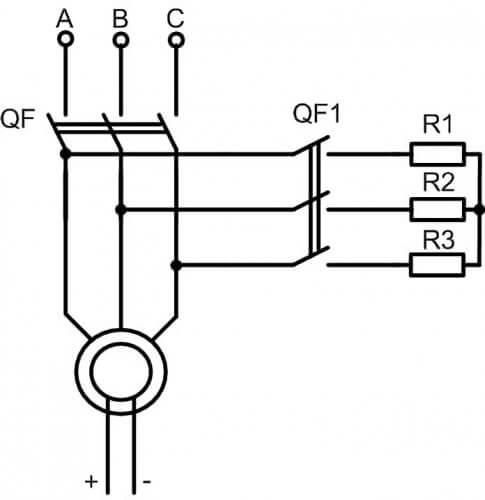 Схема торможения конденсаторами с токоограничивающими