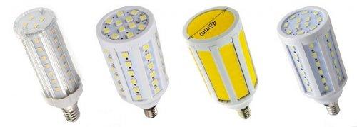 «Кукурузки», но третья слева это лампа с COB-светодиодом