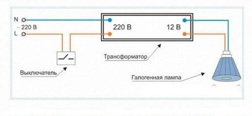 Схема подключения светильника к электронному трансформатору