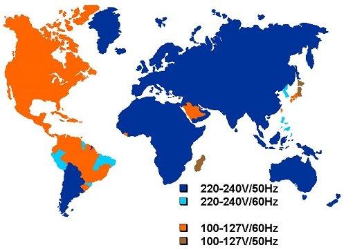 Стандарты напряжения в разных странах мира