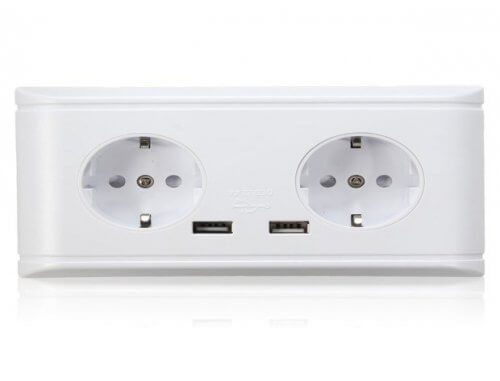 Блок из двух розеток с USB-портами для зарядки