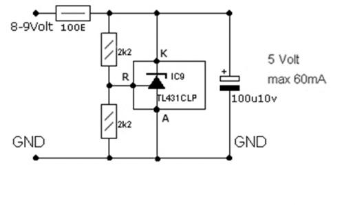 Схема подключения регулируемого стабилитрона TL431
