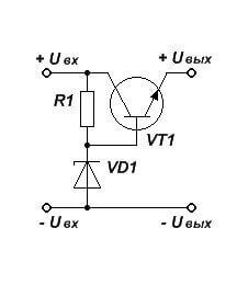 Параметрический стабилизатор из стабилитрона и транзистора — принципиальная схема