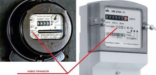 Слева старый индукционный и справа современный электронный приборы учета