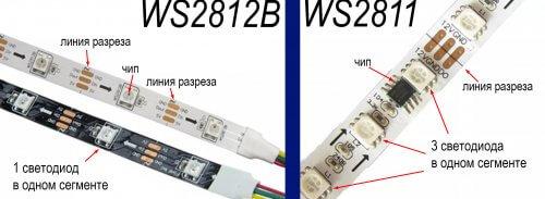 Внешний вид и отличия адресных лент WS2812B и WS2811