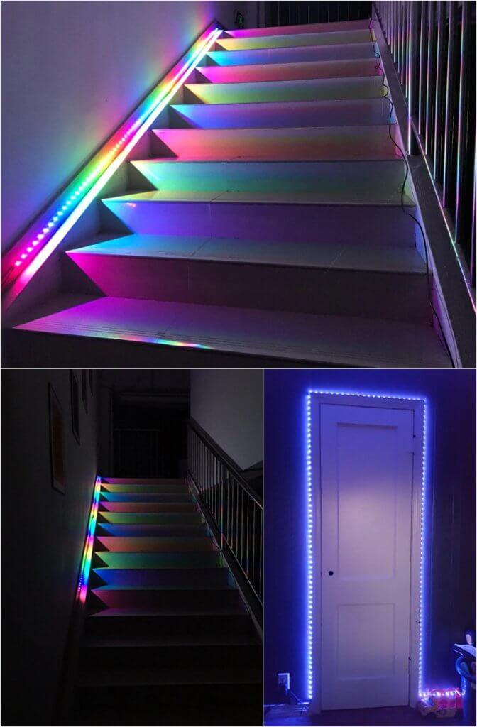Подсветка при помощи адресной светодиодной лентой
