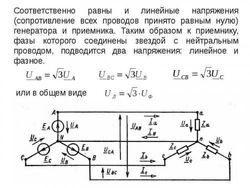 Подключение распределенной 1Ф нагрузки к 3Ф-сети и формулы соотношения напряжений