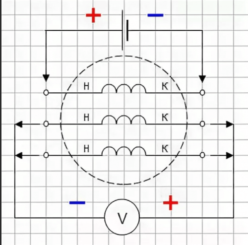 Определение обмоток с помощью батарейки