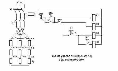 Схема управления пуском АД с фазным ротором
